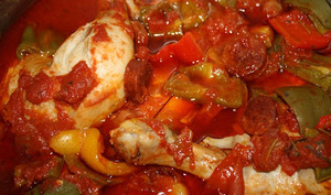 Cuisses de poulet aux poivrons et chorizo