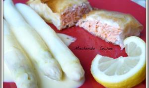 Croustillants de saumon, Asperges blanches au Sabayon