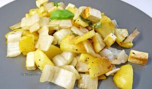 Poêlée de côtes de blettes, pommes de terre et tofu