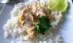 Poule pochée façon Joël Robuchon, sauce poulette au citron vert