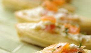 Barquettes au wasabi et saumon fumé