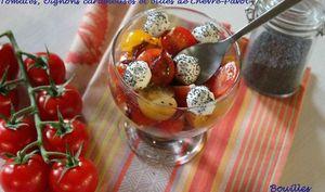 Salade d'été : Tomates, Oignons Caramélisés et Billes de Chèvre-Pavot