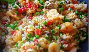 poêlée de riz aux champignons et crevettes