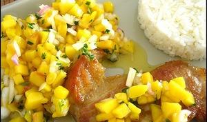 Côtes de veau à la salsa de mangue