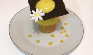 Sphère exotique sur sablé amande et couronne de chocolat noir