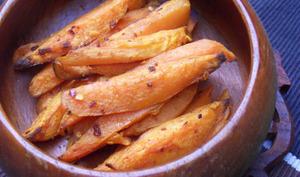 « Frites » de patates douces épicées au four