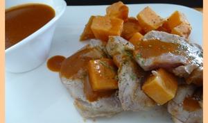 Filet mignon aux patates douces, sauce porto