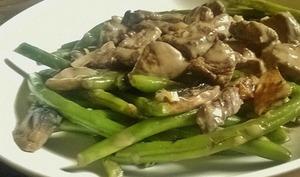 Poêlée de légumes, haricots verts et champignons au boeuf