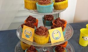 Cupcakes banane, ganache au chocolat