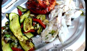 Loup mariné et légumes grillés à la plancha