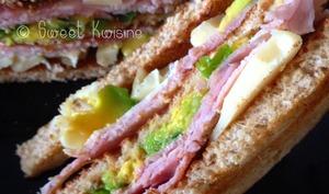 Le club sandwich jambon et avocat