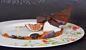 Figues, raisins, glace yaourt lait de chèvre, streusel gianduja