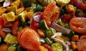 Citrouille, courgette, rôties, caramélisées, crumble de feta et menthe