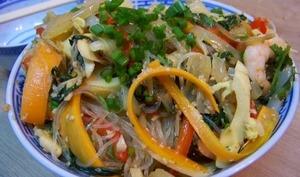 Chou pak choï et crevettes sautés