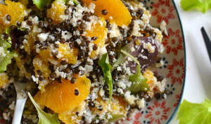 Salade de lentilles noires, chou-fleur et orange