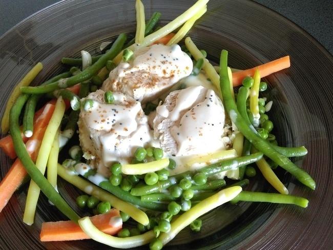 Ballotine de poulet, légumes du jardin, quinoa et boulgour