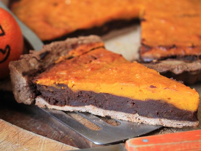 Tarte d'Halloween potimarron et chocolat