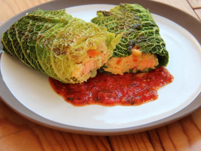 Paupiette de saumon au chou vert