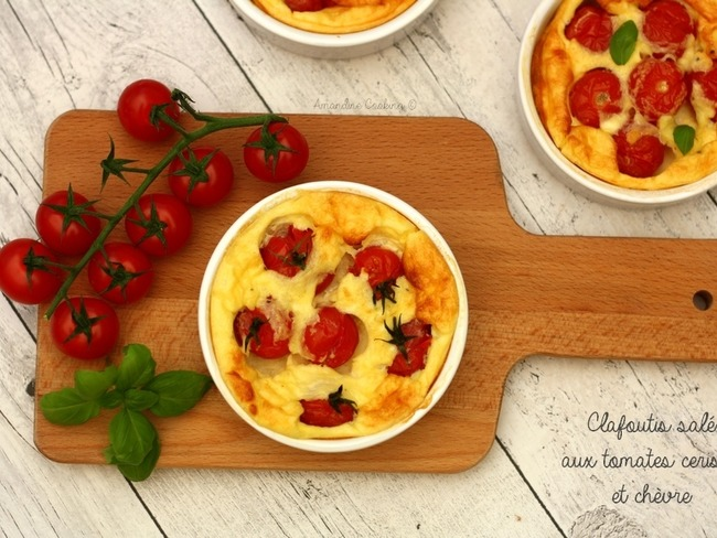Clafoutis salé aux tomates cerises et fromage de chèvre