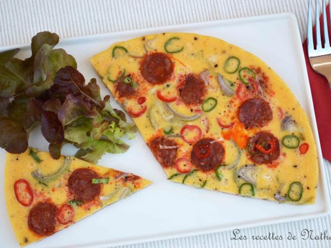 Omelette au chorizo, échalote et piment doux du Chili