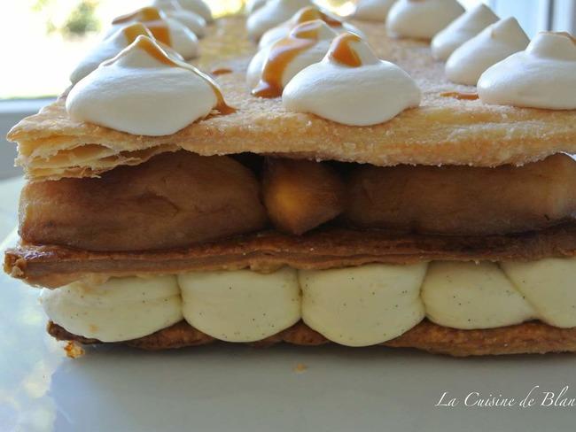 Millefeuille aux pommes caramélisées, crème vanille et chantilly au caramel