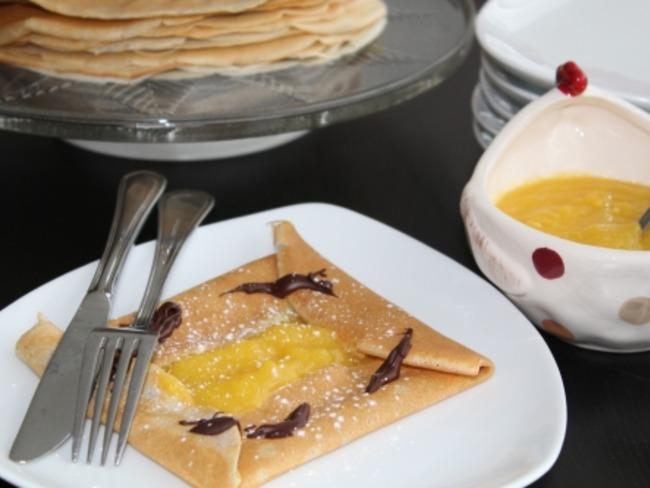 Crêpes aux trois farines et crème à la mangue
