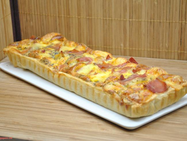 Tarte aux pommes de terre, comté et jambon
