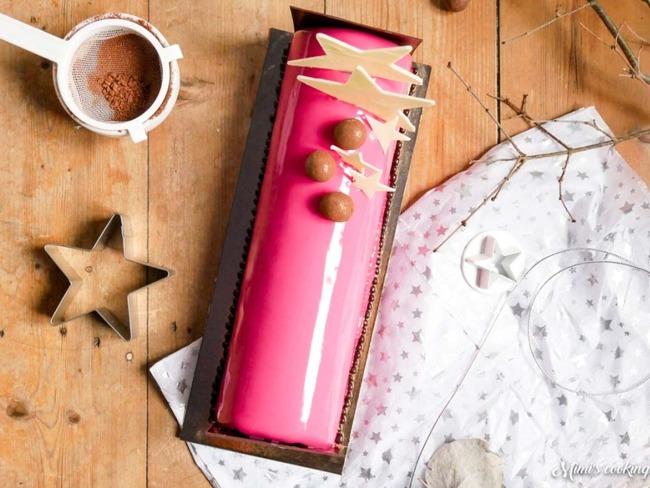 Bûche de Noël framboise et chocolat