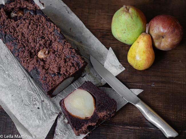 Gâteau poire chocolat et streusel cacao
