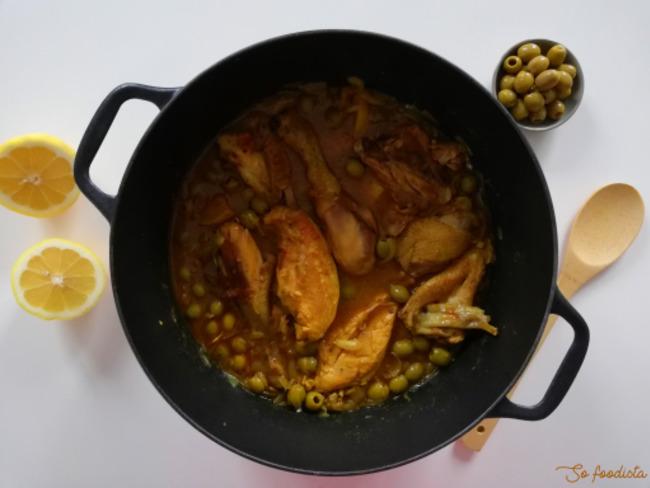 Poulet au citron confit et aux olives vertes