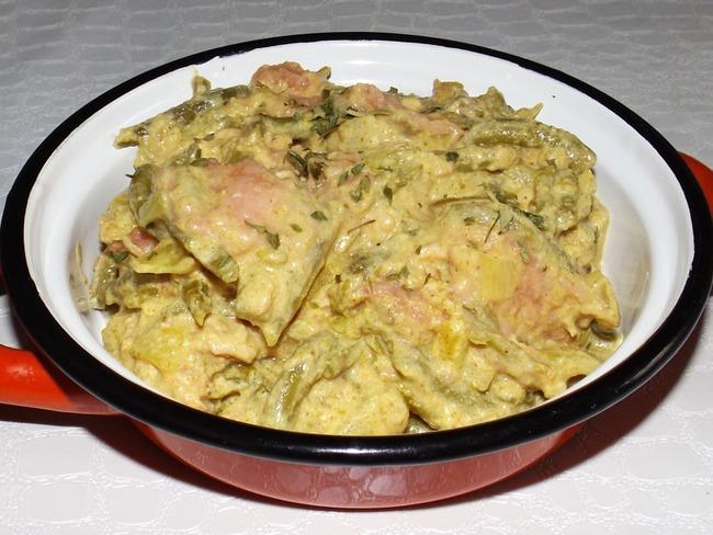 Curry de saumon aux haricots verts