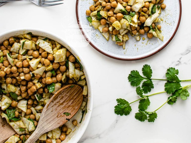 Salade de pois chiches, fenouil et coriandre