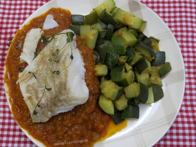 Filet de cabillaud, sauce chorizo et tomates