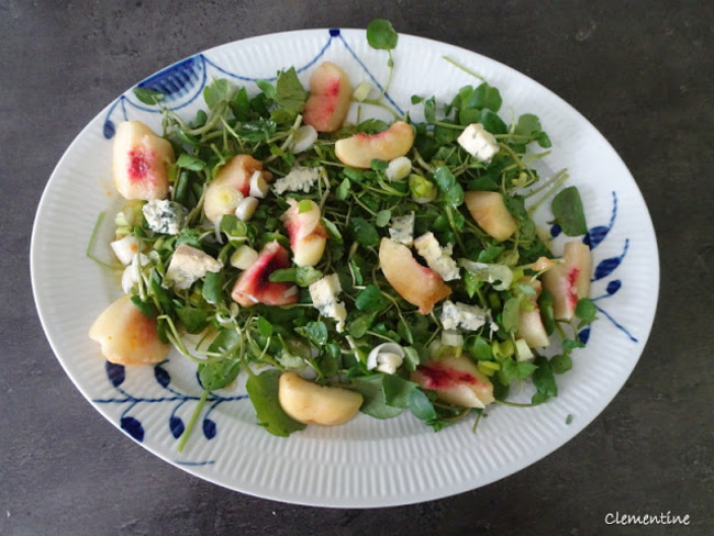 Salade de cresson aux pêches et fromage bleu