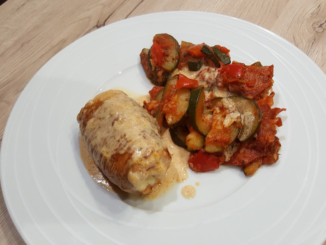 Paupiette de dinde chorizo mozza et sa poêlée de légumes