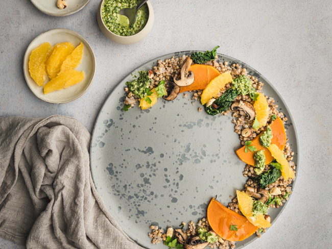 Salade de sarrasin, courge et orange