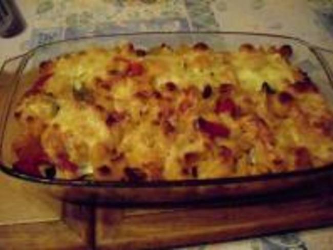 Gratin de Pâtes et Poivrons au Fromage à Raclette