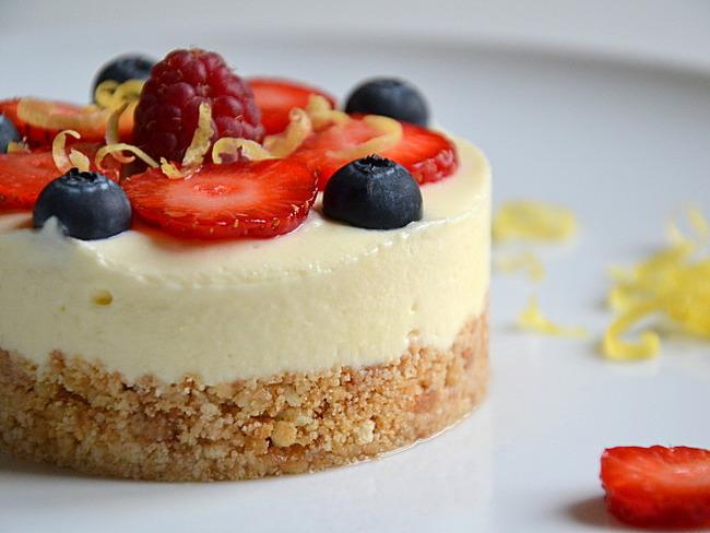 Cheesecake au citron, à la bergamote & aux fruits rouges