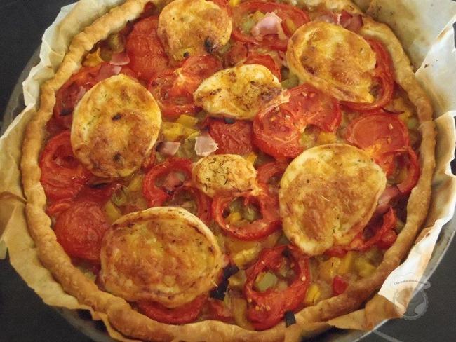 Quiche poivrons tomates mozza