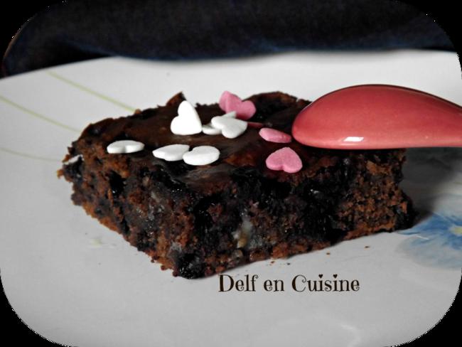 Brownies Chocolat Noir-Blanc et Brimbelles