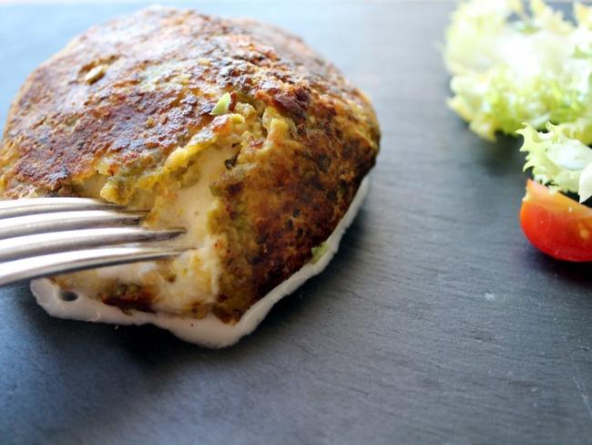 Mozzarella panée aux pistaches à la plancha