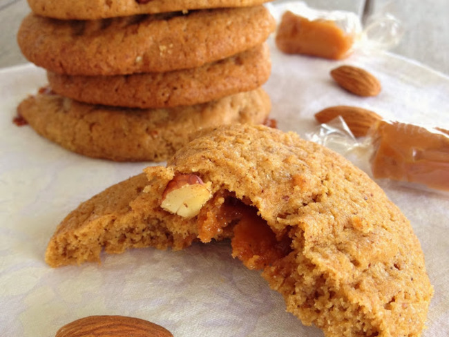 Les cookies à la crème d'amandes et au caramel