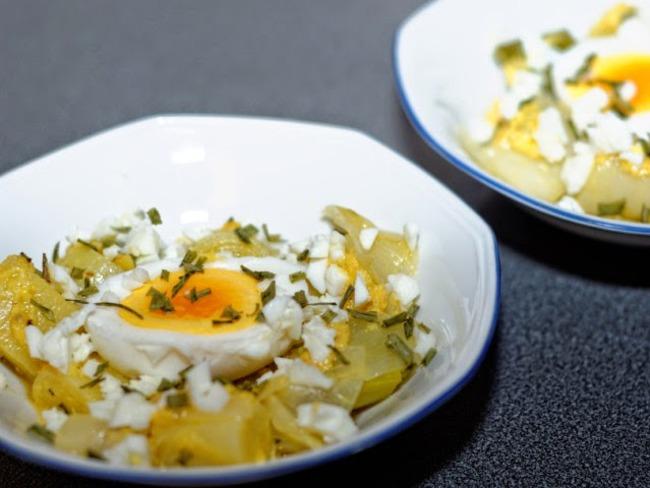Poireaux vinaigrette, œufs durs