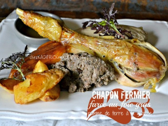 Chapon de noël farci au foie gras