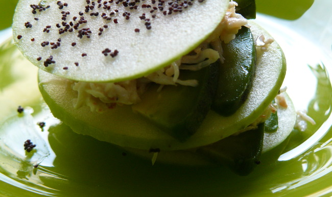 Millefeuille granny-smith au crabe