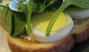Oeuf dur sur sandwich avec epinards
